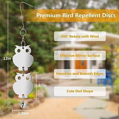 Adoric Bird Repellent, Owl Bird Repellent Control, Humane Reflective Scare Rods with Bells - Effective & Eco-friendly Det