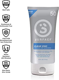 Surface Clear Zinc Sunscreen Lotion - Reef Safe, Broad Spectrum UVA/UVB Protection, Physical Sun Protection, Cruelty Free,...