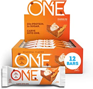 ONE Protein Bars, Pumpkin Pie, Gluten Free Protein Bars with 20g Protein and only 1g Sugar, Guilt-Free Snacking for High P...
