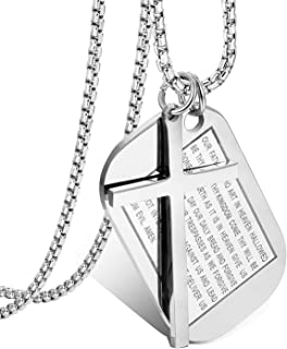Cupimatch Men's English Bible Dog Tags Cross Prayer Pendant Necklaces, Stainless Steel Jesus Verse Lords Catholic Necklace Chain 24