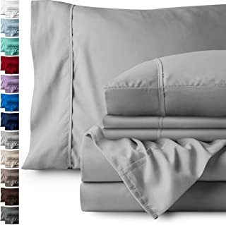 Bare Home 6 Piece 1800 Collection Deep Pocket Bed Sheet Set - Ultra-Soft Hypoallergenic - 2 Extra Pillow Cases (Queen, Light Grey)