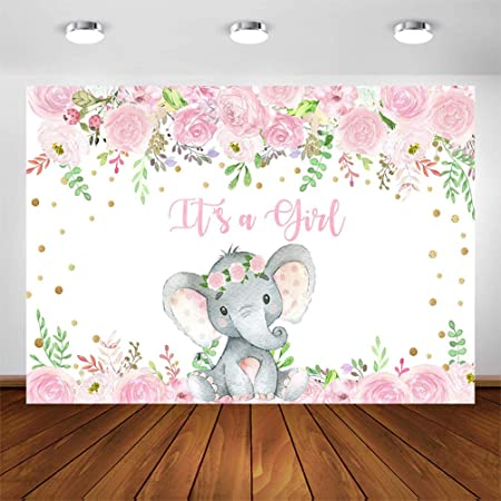 Cute Pink Elephant Backdrops 7x5ft Polyester Photography Background Wooden Texture Wall with Pink Flowers Baby Shower Girls Baby Birthday Party Decoration Backdrops