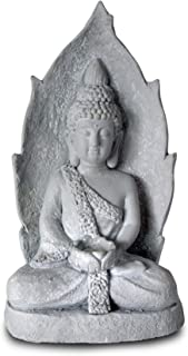 WHW Whole House Worlds Zen Buddha Statue, Rustic Gray, Candle Holder Artisan Cast Magnesia, Stone Effects Finish, Tonal Pale Patina, Over 1 1/2 Ft Tall (20 Inches) Serenity and Meditation Zone Art