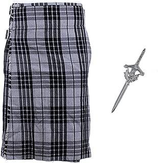 Budget 5 Yard Kilt with Free Matching Kilt Pin - Sizes 30-44 - Grey Granite