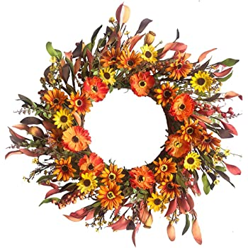 Artificial Fall Floral Wreath,Orange Daisy Wreath Autumn Wildflowers Wreath for Front Door Wall Window Decor and Thanksgiving Harvest Festival Celebration-20in