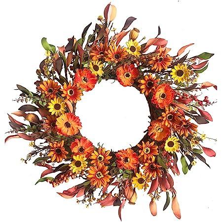 Rustic Decoration Front Door Wreath Autumn Housewarming Gift Orange Fall LARGE SUNFLOWER WREATH Harvest 20 Fabric Rag Wreath