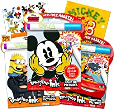 Disney Mickey Magic Ink Coloring Book Set -- 3 Imagine Ink Books for Kids Toddlers Featuring Mickey, Disney Cars and Minions with Invisible Ink Pens and Mickey Mouse Stickers (Mess-Free Coloring)