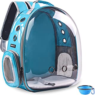 BEIKOTT Cat Backpack Carriers, Pet Bubble Backpack for Cats Puppy Dogs and Birds, Premium Leather Cat Backpack, Airline-Ap...