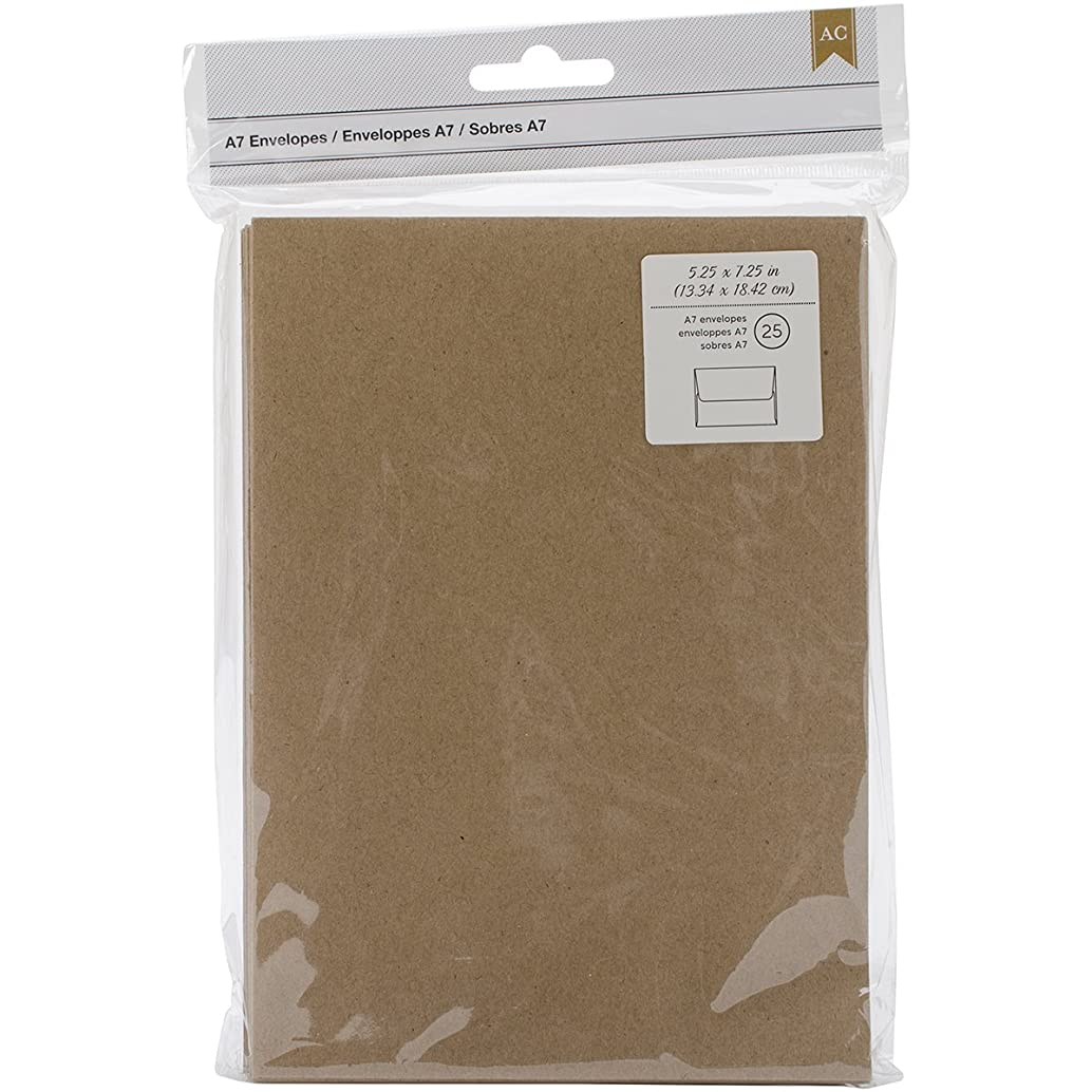 American Crafts A7 Envelopes, 5.25 by 7.25-Inch, Kraft, 25/Pack