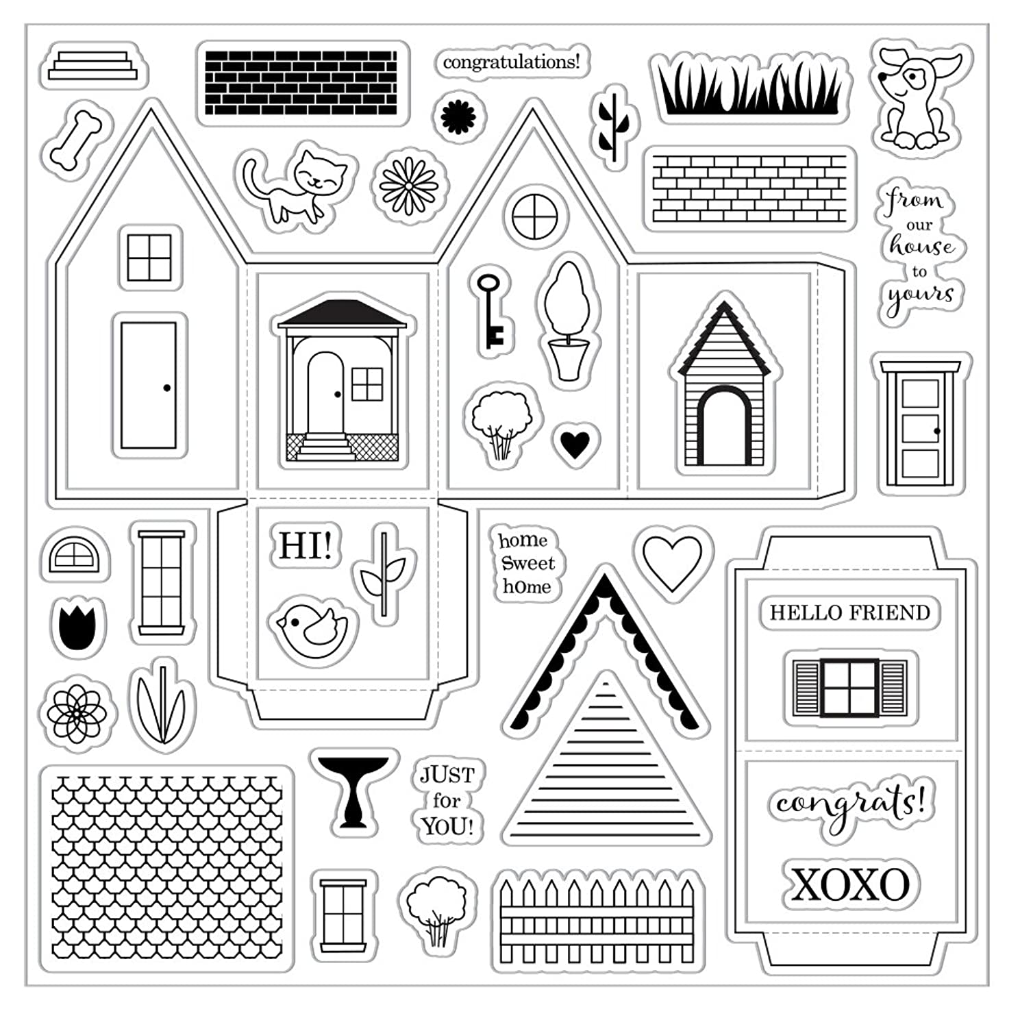 Fiskars Crafts 126480-1001 Tiny Little Sweet Home 8x8 Clear Stamp