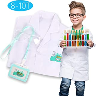 Lab Coat for Kids Scientist Costume Children's Role Play Set Pretend Play with Goggle and Personalized ID Card, Age 8-10 White