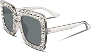Women Sparkling Crystal Sunglasses Oversized Square Thick Frame B2283