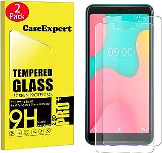 CaseExpert 2-pack – Wiko Y60 härdat glas, härdat glas kristall klart skärmskydd skydd & poleringsduk för Wiko Y60