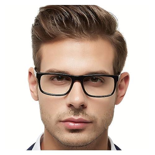 8004a67db47d OCCI CHIARI Men Fashion Black Rectangle Eyewear Frame With Non-Prescription Clear  Lens