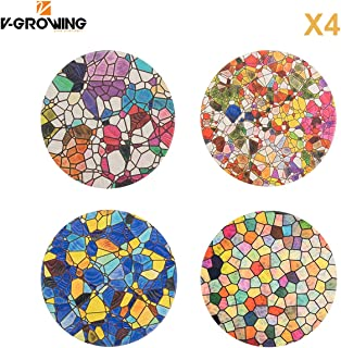 V-GROWING 4 Inch Mosaic Style Pattern Absorbent Ceramic Coasters Cork Base for Drink, Add Protection to the Furniture of Dining Room or Living Room, Protect the Furniture(Set of 4)