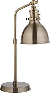 Rivet Pike Factory Industrial Table Lamp With Light Bulb - 6 x 13 x 19 Inches, Antique Brass