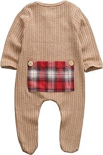 الوليد طفل طفل رضيع الفتيات رومبير منقوشة المرقعة طويلة الأكمام بذلة ملابس ملابس 0-9 متر (Color : Brown, Kid Size : 3M)