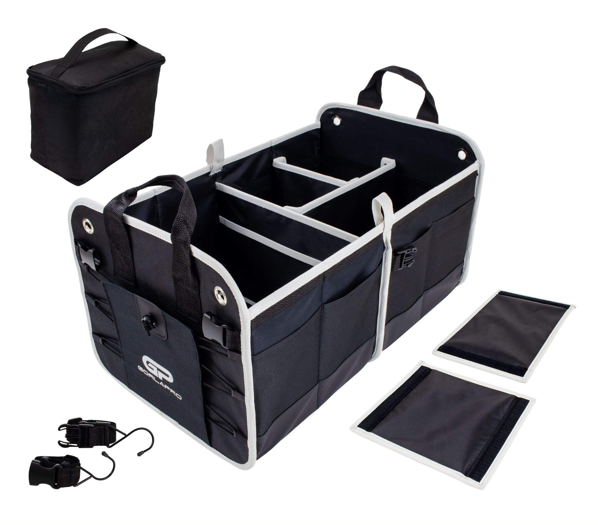 Collapsible Multi-compartments Cargo Storage Anti-Slip Handles Goplus Car Trunk Organizer Easily Expandable Automotive Storage Box Bin Cubes for SUV Car Truck Auto Vehicle with Securing Straps
