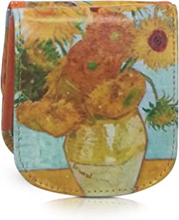 Taxi Wallet Van Gogh Sunflowers Small Vegan Folding Minimalist Card and Coin Wallet