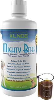 MightyBites Liquid Multivitamin for Dogs - Poured Over Food for Improved Health and Increased Energy + Glucosamine/MSM for Hip and Joint Care + Seaweed Blend with Amino Acids + Digestive Enzymes CoQ10