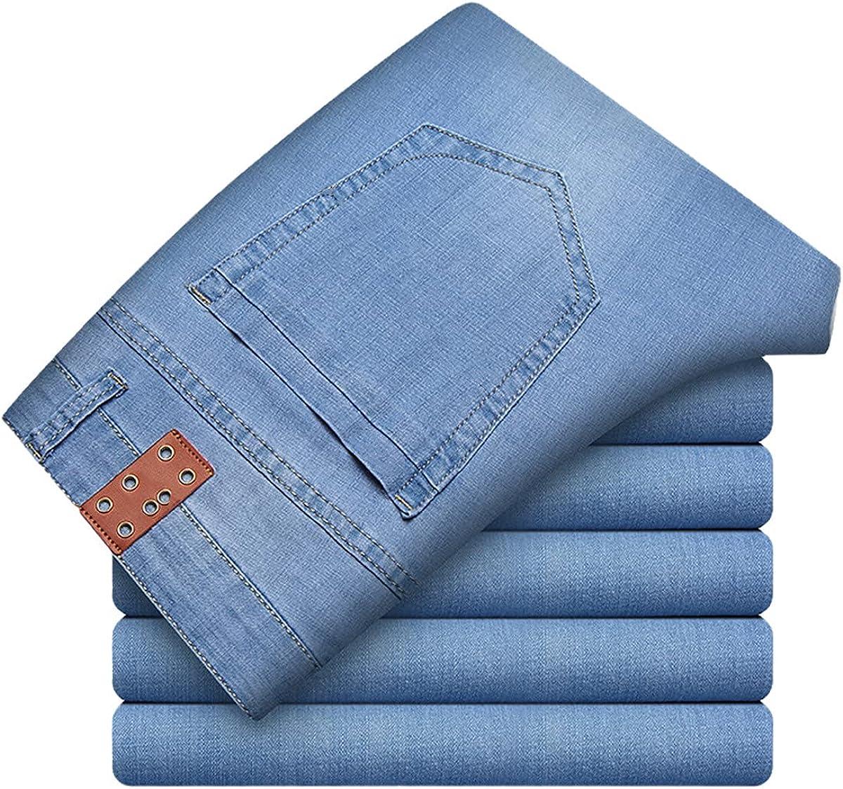CACLSL Skinny Jeans Men's Fashion Men's Business Stretch Denim Trousers Casual Light Blue Retro Dress Pants Summer Jeans