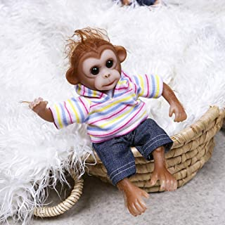 JTYX DOLLS 8inches Mini Monkey Baby Twin Very Soft Flexible Silicone Reborn Doll Collecible Art Doll Detailed Hand Made Lifelike