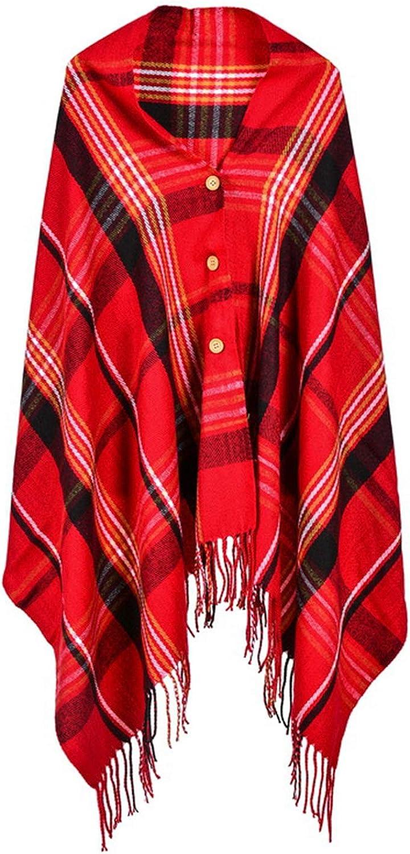 Idea Houses Women's Shawl Wrap Scarf Plaid Button Warm Poncho Cloak