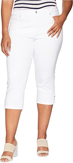 Plus Size Capris w/ Lace-Up Hem in Optic White