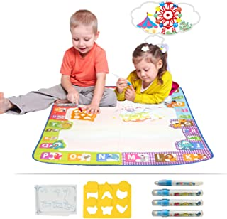 Aomeiqi Doodle Drawing Mat, Magic Water Doodle Drawing Mat Extra Large Size 30x30 inches Toddler Painting Coloring Pad Toys Gift Kids Included Draw Templates 4 Magic Pens 1 Drawing Booklets (1)