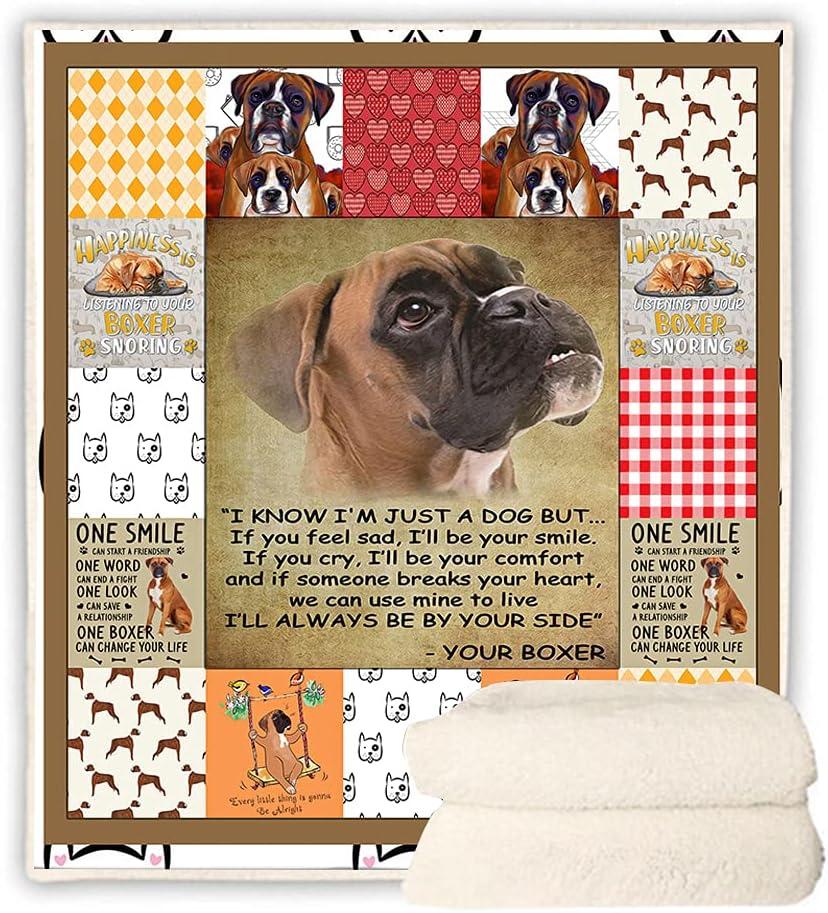 BEDBLK Free shipping New I Love My Boxer Sherpa Fleece Soft Quantity limited Super Plu Blanket Warm