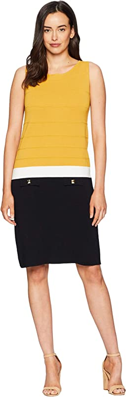 Color Block Sheath Dress with Faux Pockets