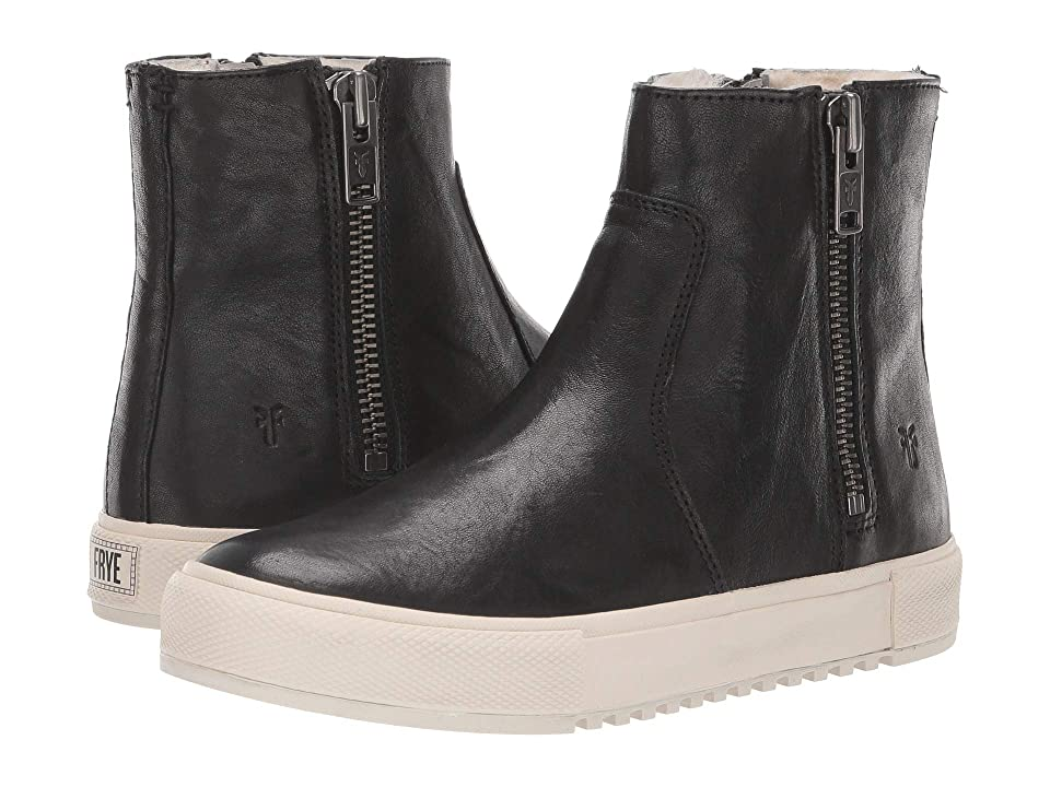 Frye Gia Lug Double Zip (Black Antique Soft Vintage/Shearling) Women
