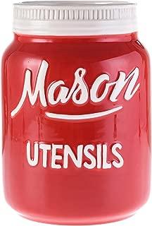 Red Ceramic Mason Jar Utensil Crock - Retro & Farmhouse Decor | Dishwasher & Microwave Safe | Kitchen Caddy | Spoon & Spatula Holder | Baking Supplies, Rustic Home Accessory by Goodscious