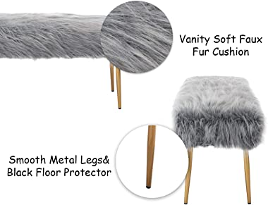Kmax Fur Entryway Bench, Furry Cute Grey Shaggy Makeup Bench Seat for Girls, Modern Long Bench with Gold Metal Legs for Bedro