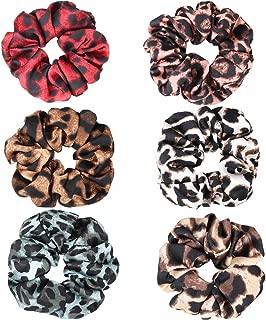 Ondder 6 Pack Women's Leopard Scrunchies for Hair Animal Print Chiffon Scrunchy Hair Cheetah Scrunchies for Hair Elastic Bobbles Hair Ties Bands Scrunchies for Women