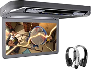 "XTRONS Grey 13.3"" HD 1080P Video Car MPV Roof Flip Down Slim Overhead DVD Player Wide Screen Ultra-Thin with HDMI Input 2P..."