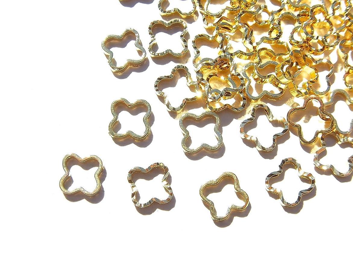 小数失望させるカセット【jewel】ゴールド 立体メタルパーツ 10個入り クローバー 型 直径6mm 厚み1mm 手芸 材料 レジン ネイルアート パーツ 素材