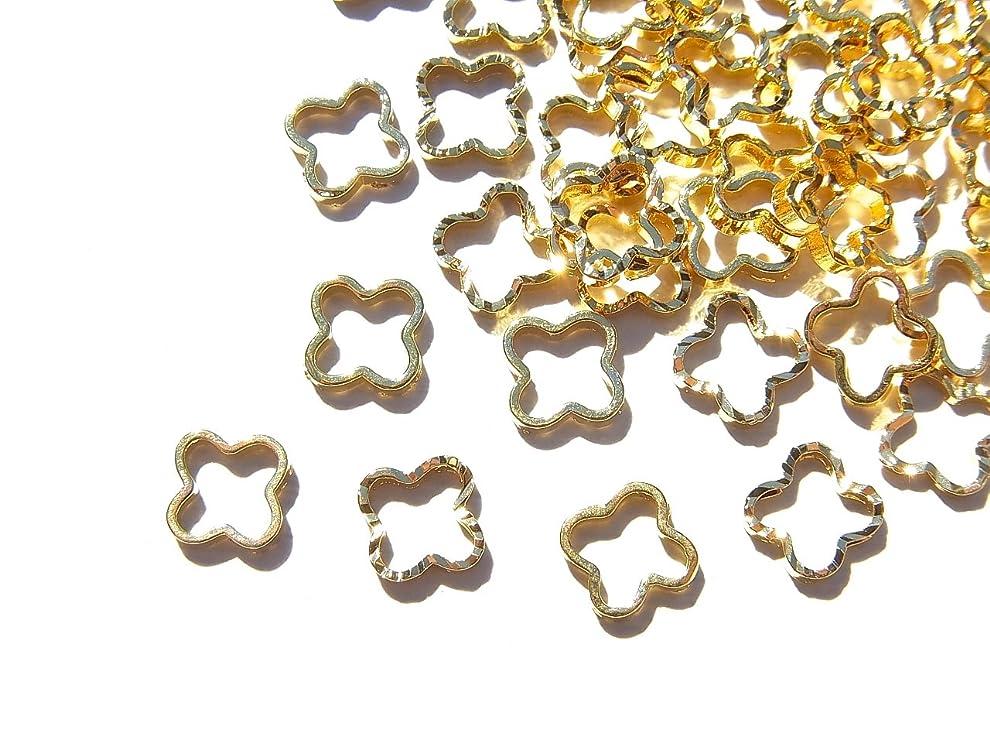 保険をかけるうがい薬植物の【jewel】ゴールド 立体メタルパーツ 10個入り クローバー 型 直径6mm 厚み1mm 手芸 材料 レジン ネイルアート パーツ 素材