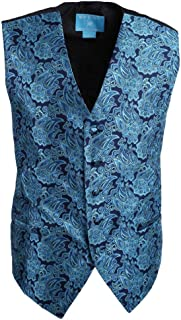 Epoint EGD1B03C-XL Navy Black Paisley Microfiber Christmas Tuxedo Vest Neck Tie Set Best For Travel