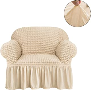 CHUN YI 1-Piece All-Purpose Universal Easy Fitted Armchair Sofa Couch Cover Stretchable High Elasticity Durable Furniture Protector Arm Chair Slipcover with Skirt (Chair, Light Khaki)