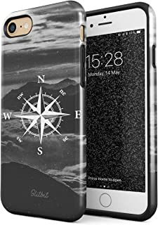 Glitbit Compatible with iPhone 7 iPhone 8 Case Compass Wanderlust Travel Explore Lets Go Trip Landscape Nature Mountains Tumblr Shockproof Dual Layer Hard Shell + Silicone Protective Cover