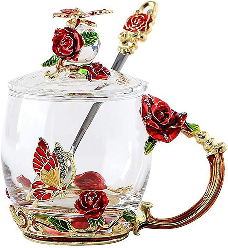 Lilyss Tea Cups Coffee Mug With Lid Spoon For Women Girls Unique Beautiful Sturdy Durable Handmade Rose Flower Clear Tea Cups Birthday Gift Idea For Women Mom Wife Sister Daughter Friend