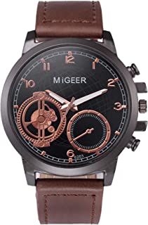 MIGEER High-End Fashion Men's Stainless Steel Watch Analog Alloy Quartz Watch