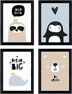 Nacnic Ensemble de 4 feuilles « baleine, pingouin, le phoque et l'ours polaire. » animaux Posters. A4