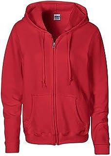 Gildan Heavy Blend Ladies Full Zip Hood Sweat/Sweatshirt Hoodie (XL) (Red)