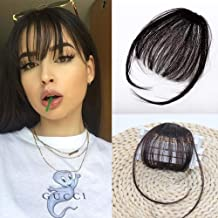 Clip in Air Bangs Human Hair Black One Piece Clip in Fringe Hair Extensions Natural Color for Women