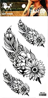 PP TATTOO 1 Sheet Feather and Sunflower Fashionable Henna Temporary Tattoos Make up Neck Shoulder Upper arm Thigh Waterproof Stickers for Men Women Sexy Body Art