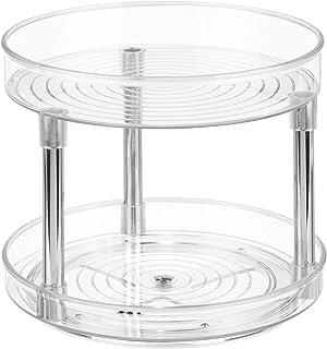 iDesign Plato giratorio para cocina organizador de armarios con 2 pisos de plástico libre de BPA especiero giratorio par...