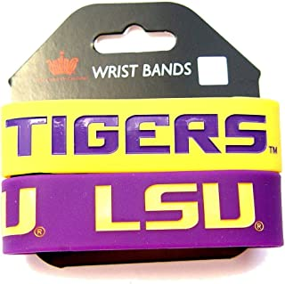 NCAA Football Silicone Rubber Wrist Band Two Bracelets LSU Tigers