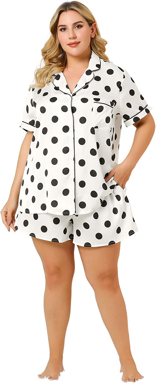 Agnes Orinda Women's Plus Size Pajama Set Short Sleeve Bottom Polka Dots Shirt Sleepwear Loungewear